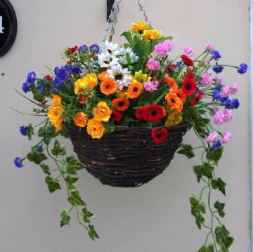 Round Wicker Artifical Flower Hanging Basket -Colourful wildflower and/ Ivy